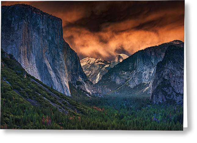 Sunset Skies Over Yosemite Valley Greeting Card