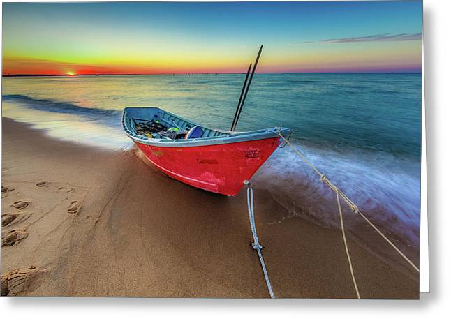 Sunset Skiff Greeting Card