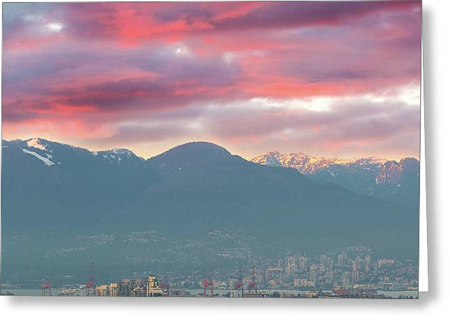 Sunset Sky Over Port Of Vancouver Bc Greeting Card