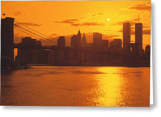 Sunset Skyline New York City Ny Usa Greeting Card by Panoramic Images