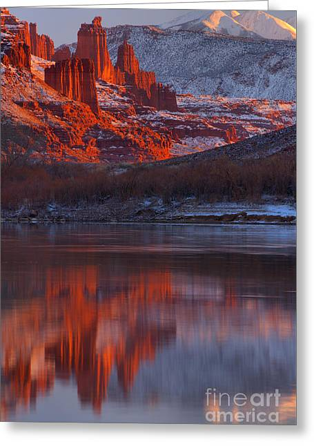 Sunset Snow Caps And Towers Greeting Card