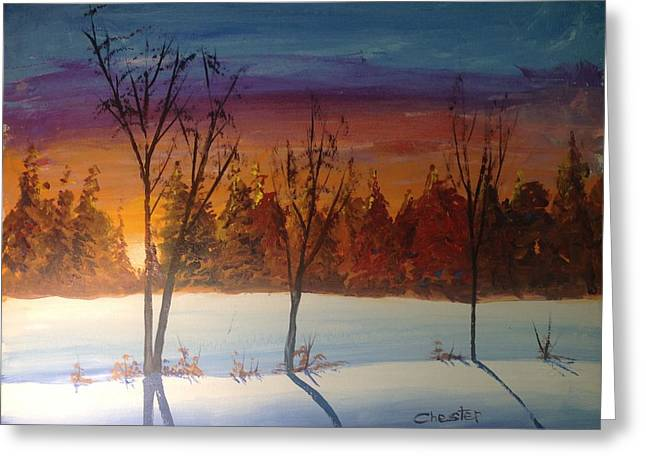 Sunset Snow Greeting Card