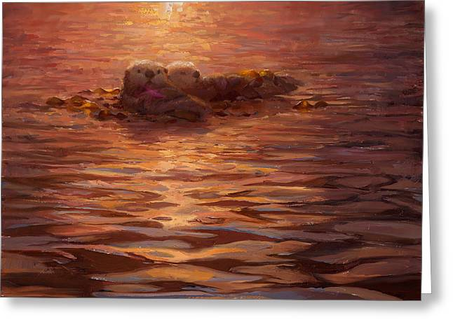 Sunset Snuggle - Sea Otters Floating With Kelp At Dusk Greeting Card by Karen Whitworth