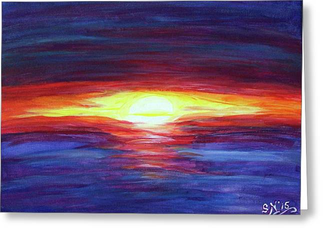 Greeting Card featuring the painting Sunset by Sonya Nancy Capling-Bacle