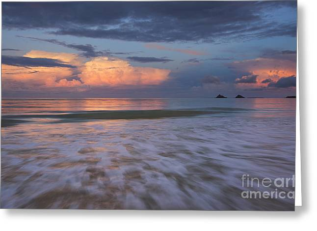 Sunset Storm Clouds Over Kailua Beach Greeting Card