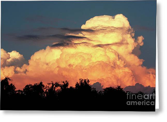 Sunset Storm Clouds Over The Marsh Greeting Card
