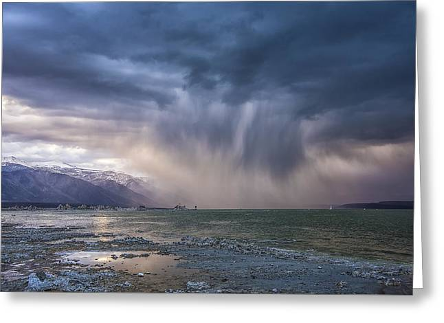 Sunset Storm Over Mono Lake Greeting Card by Janis Knight