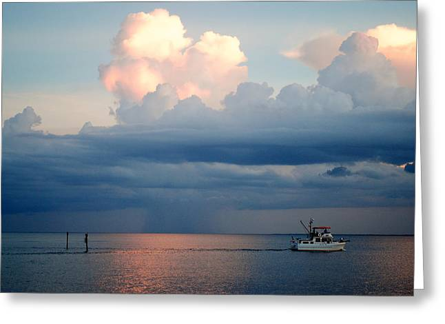 Sunset Storm Greeting Card by Steven Scott