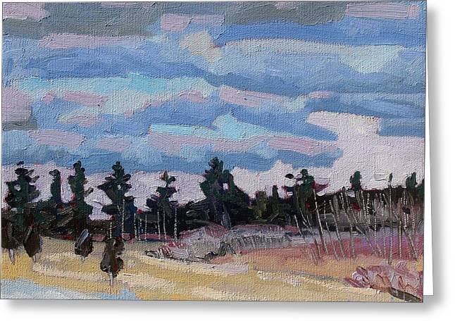 Sunset Stratocumulus Singleton Greeting Card by Phil Chadwick