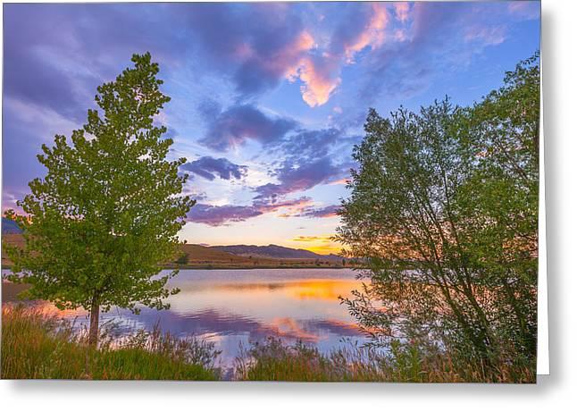Sunset Stroll Along The Lake Greeting Card