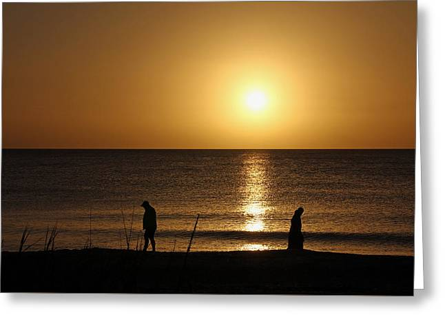 Sunset Stroll Greeting Card by Debbie Oppermann