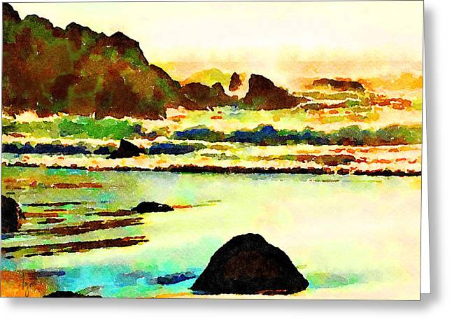 Greeting Card featuring the painting Sunset Surf by Angela Treat Lyon