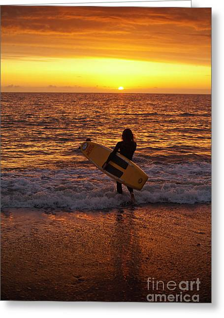 Sunset Surfer On Aberystwyth Beach Wales Uk Greeting Card