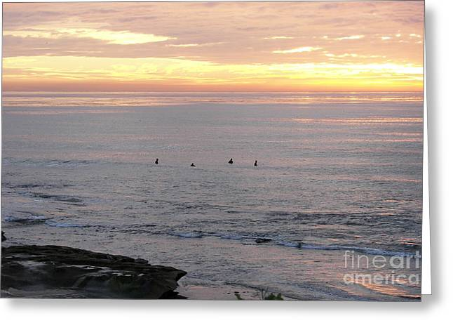 Greeting Card featuring the photograph Sunset Surfing by Carol  Bradley