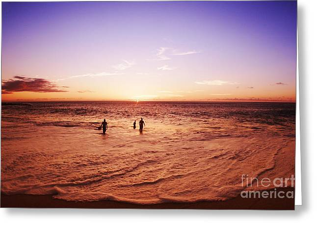 Sunset Swim Greeting Card by Vince Cavataio - Printscapes