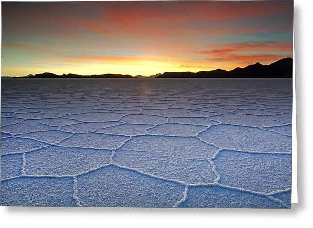 Lake Uyuni Sunset Texture Greeting Card