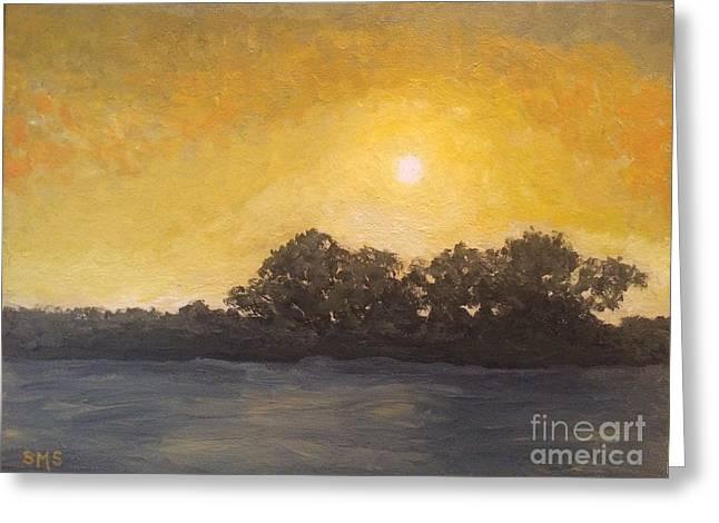 Sunset Through The Fog Greeting Card by Stella Sherman