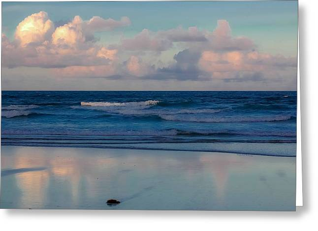 Blue Green Wave Digital Greeting Cards - Sunset Tides Greeting Card by DigiArt Diaries by Vicky B Fuller