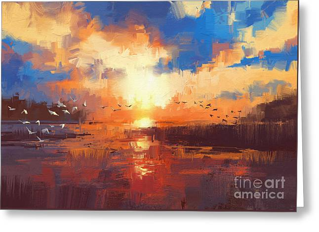 Greeting Card featuring the painting Sunset by Tithi Luadthong