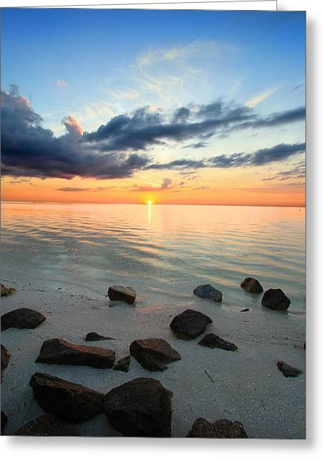 Sunset Tranquil Greeting Card by Gary Yost