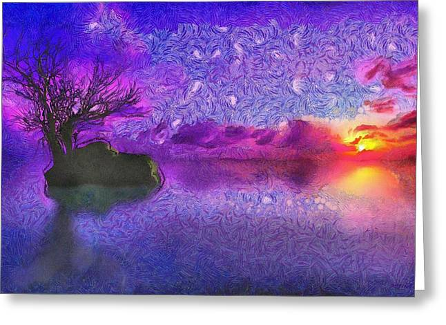 Sunset Tribute To Van Gogh Greeting Card