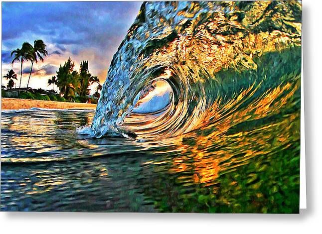 Laniakea Beach Greeting Cards - Sunset Tube - Square Greeting Card by Paul Topp