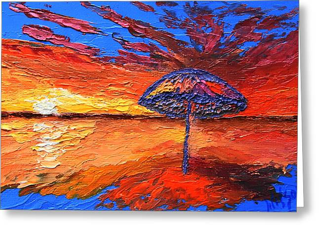 Sunset Umbrella Greeting Card
