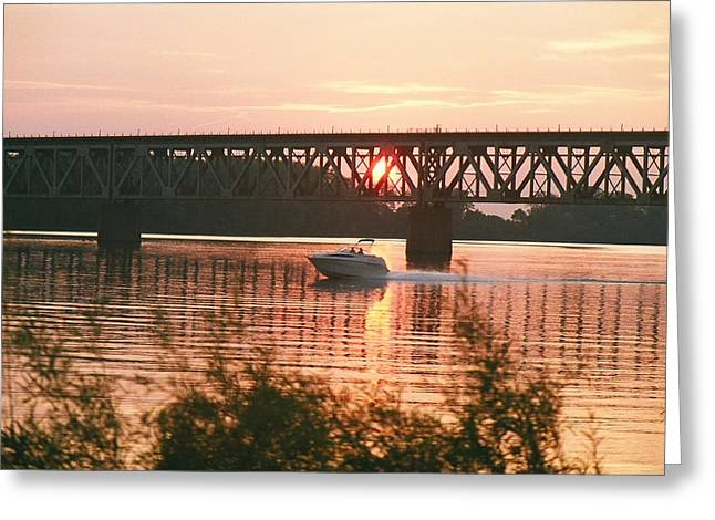 Sunset Under The Cbq Railroad Bridge Greeting Card by C E McConnell