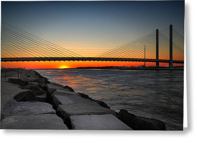 Sunset Under The Indian River Inlet Bridge Greeting Card