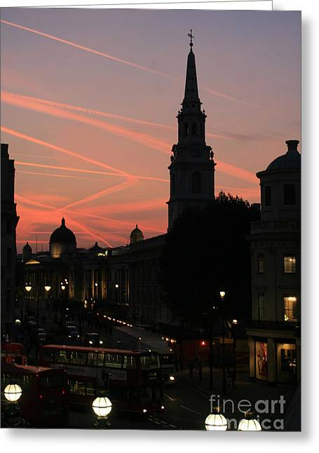 Sunset View From Charing Cross  Greeting Card by Paula Guttilla