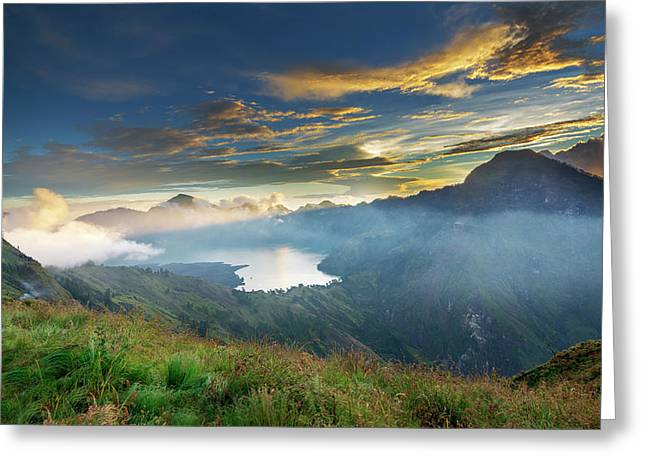 Sunset View From Mt Rinjani Crater Greeting Card