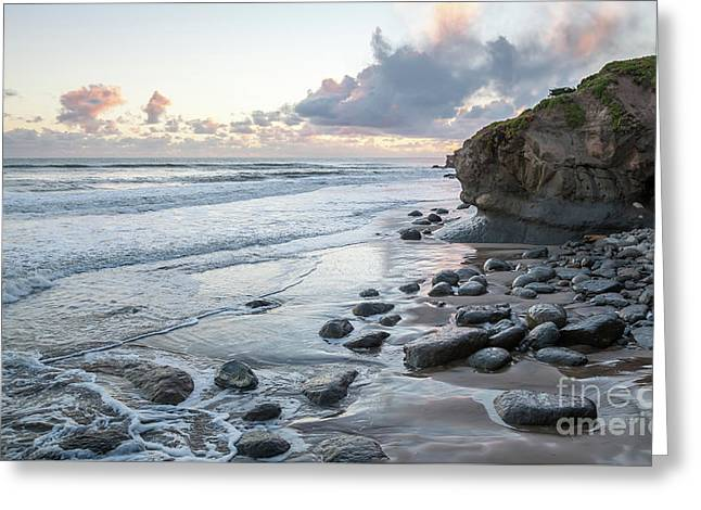 Sunset View In The Distance With Large Rocks On The Beach Greeting Card