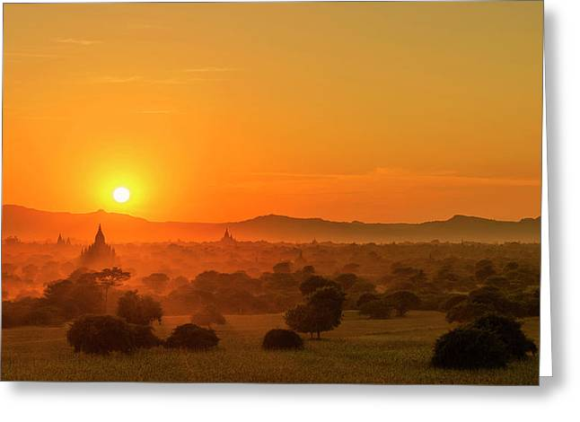 Sunset View Of Bagan Pagoda Greeting Card