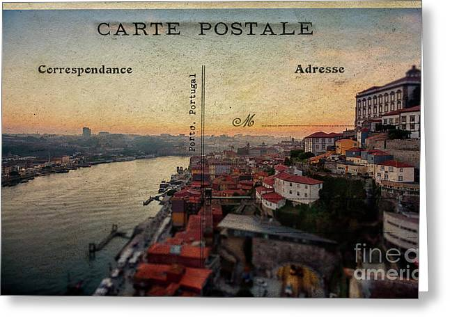 sunset view of the Douro river and old part of  Porto, Portugal Greeting Card