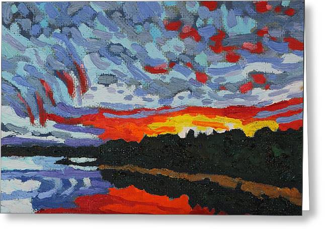 Sunset Virga Trails Greeting Card by Phil Chadwick