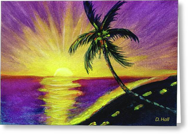 Sunset Water Color Footprints #26 Greeting Card by Donald k Hall