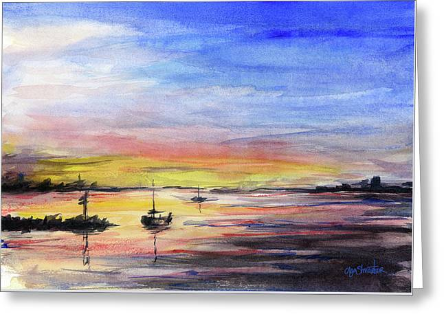 Sunset Watercolor Downtown Kirkland Greeting Card
