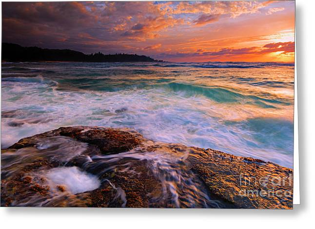 Sunset Wave Curl Greeting Card