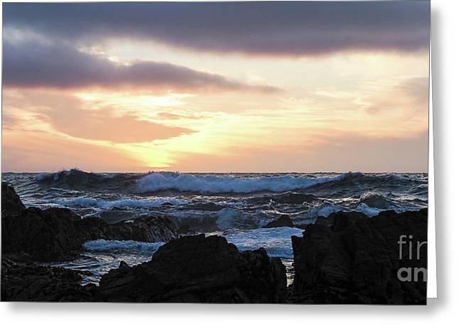 Sunset Waves, Asilomar Beach, Pacific Grove, California #30431 Greeting Card