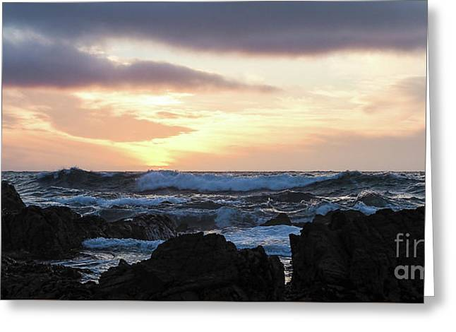Sunset Waves, Asilomar Beach, Pacific Grove, California #30431 Greeting Card
