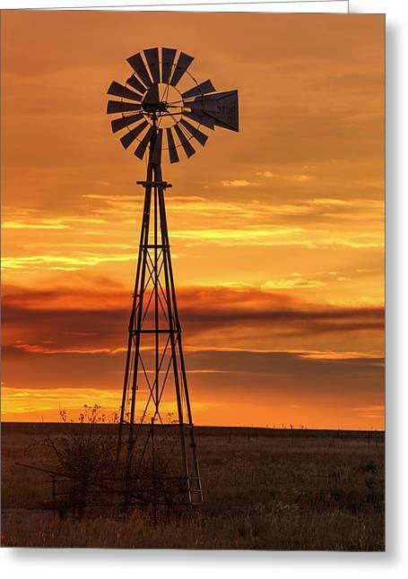 Sunset Windmill 01 Greeting Card