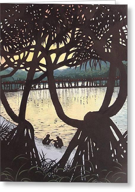 Sunset Windows Greeting Card by Serena Valerie Dolinska