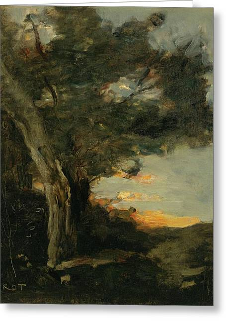 Sunset With A Lioness Greeting Card by Jean-Baptiste Camille Corot