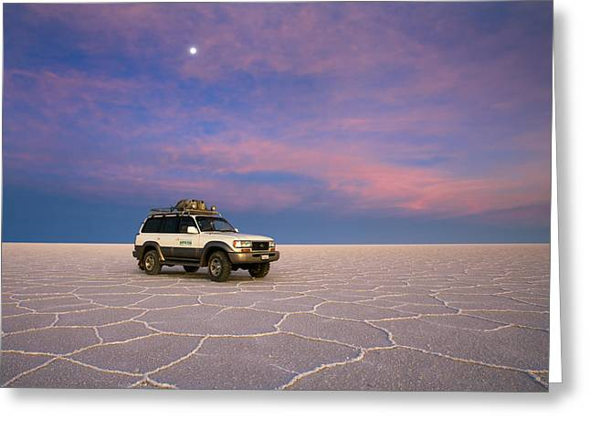 Lake Uyuni Sunset With Car Greeting Card