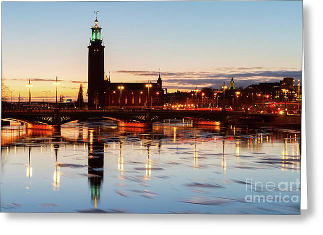 Sunset With Cityhall Of Stockholm Greeting Card