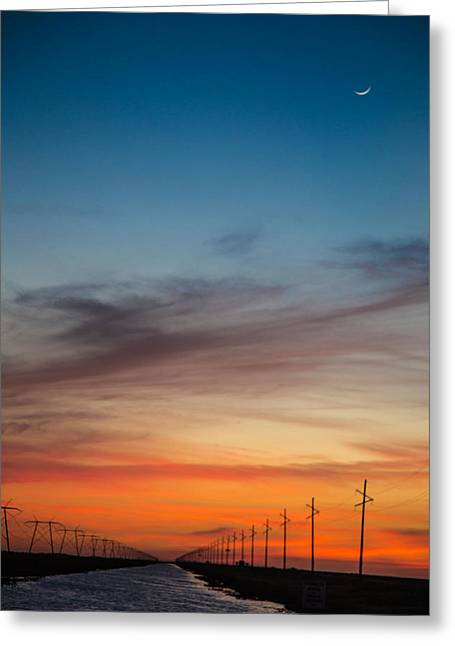 Sunset With Moon Sliver Greeting Card