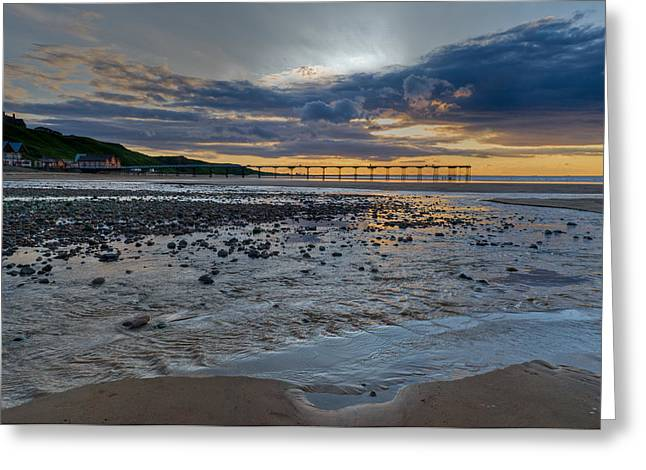 Sunset With Saltburn Pier Greeting Card by Gary Eason