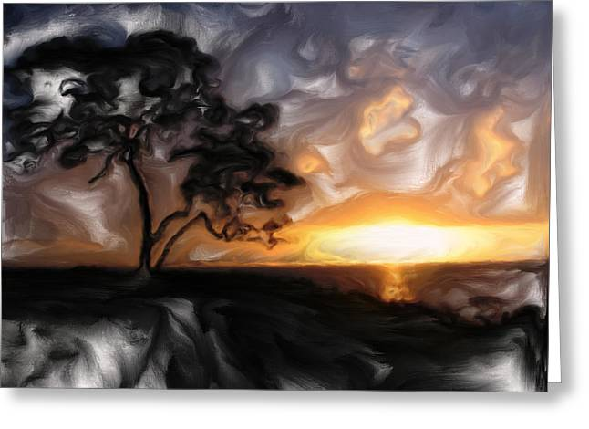 Mark Denham Greeting Cards - Sunset with Tree Greeting Card by Mark Denham