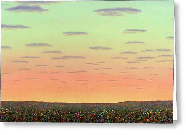 Sunset With Wildflowers Greeting Card