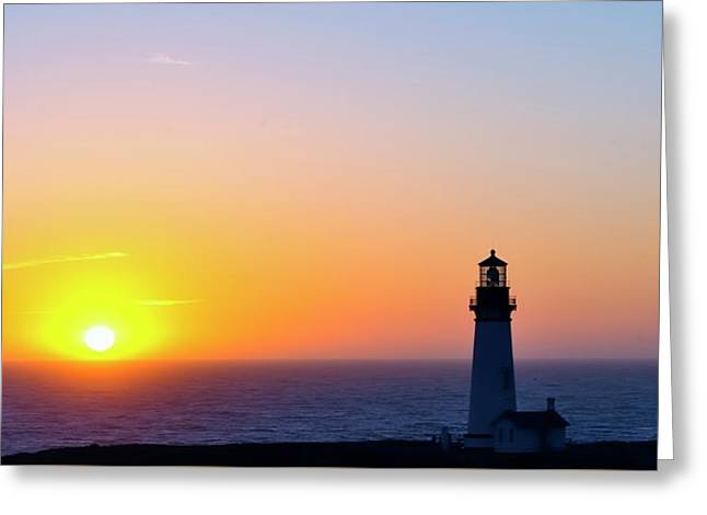 Sunset Yaquina Head Lighthouse Greeting Card by Jerry Sodorff